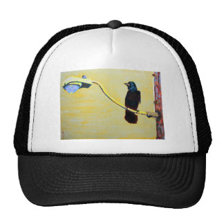 Crowing Crow on a Light Pole Trucker Hats