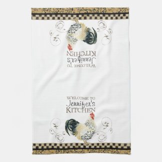 Crowing Rooster Black & Tan Check Swirl Kitchen Hand Towels