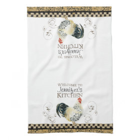 Crowing Rooster Black & Tan Check Swirl Kitchen Hand Towel