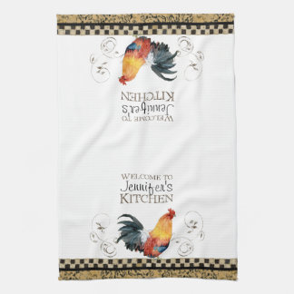 Crowing Rooster Black & Tan Check Swirl Kitchen Towel