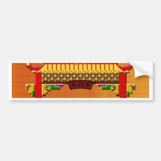 Crowing Rooster on Chinese Arch, Happy New Year an Bumper Sticker