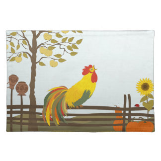 Crowing Rooster on Fence Placemats Cloth Place Mat