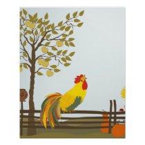Crowing Rooster on Fence Poster