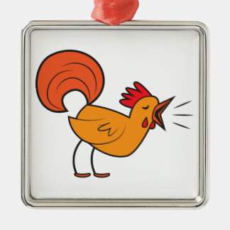 Crowing ROOSTER Silver-Colored Square Decoration
