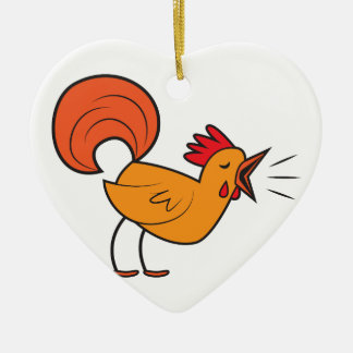 Crowing ROOSTER Ceramic Heart Decoration