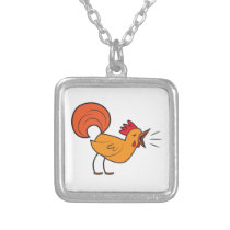 Crowing ROOSTER Silver Plated Necklace
