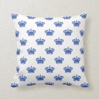 Crown 01 - Navy Blue on White Throw Pillow
