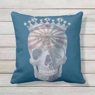 Crown Anchor Bees High Voltage Keep Out Skull Outdoor Pillow