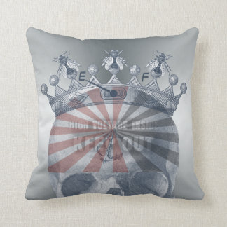 Crown Anchor Bees High Voltage Keep Out Skull Throw Pillow