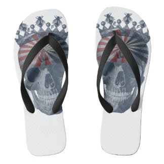 Crown Anchor Bees Running On Empty Laughing Skull Flip Flops