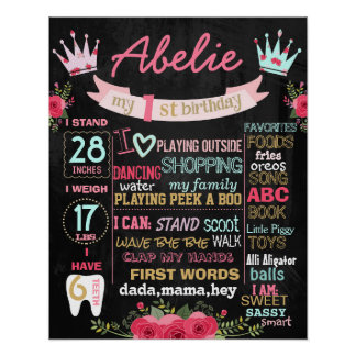 Crown and flowers first birthday chalkboard poster
