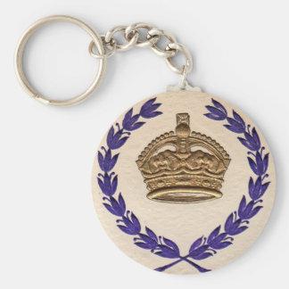 crown and garland basic round button keychain