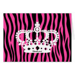 Crown and hot pink and black zebra print thank you card