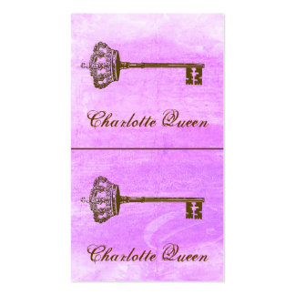 Crown and Key Mini Cards or Hang Tags Purple Pack Of Standard Business Cards