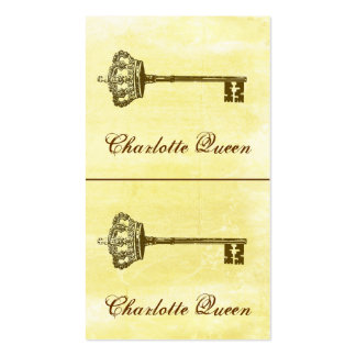 Crown and Key Mini Cards or Hang Tags Yellow Pack Of Standard Business Cards