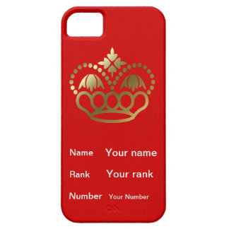 Crown  and Name, Rank, Number with  red background iPhone SE/5/5s Case