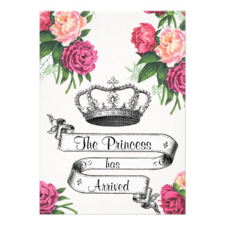 Crown and Roses Princess Arrived Birth Announcemnt Announcement