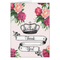 Crown and Roses Princess Thank You Card