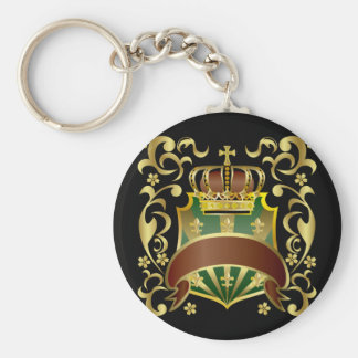 Crown and Shield Basic Round Button Keychain