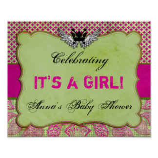 Crown and Wings Pink and Green Baby Shower Sign Poster
