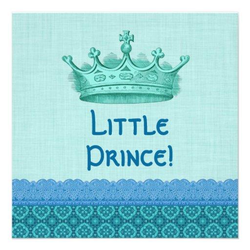 crown aqua blue little prince boy baby shower v02 custom announcement