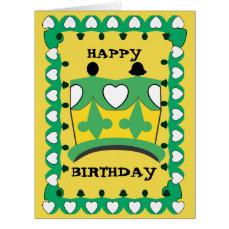 CROWN CHILD GREEN CARTOON BIG GRETTING Card