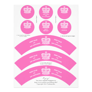 Crown Cupcake Wrappers Keep Calm Pink Letterhead