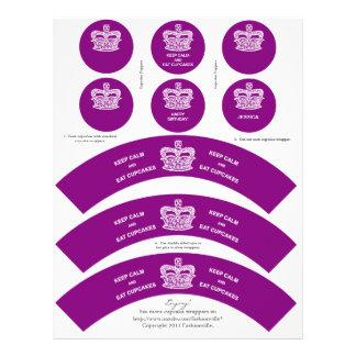 Crown Cupcake Wrappers Keep Calm Purple Letterhead
