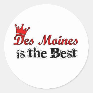 Crown Des Moines Classic Round Sticker