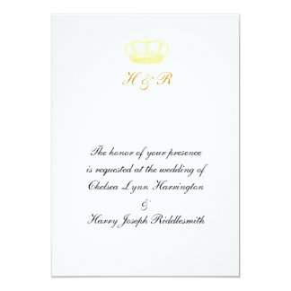 "Crown Designs -  Gold 5"" X 7"" Invitation Card"