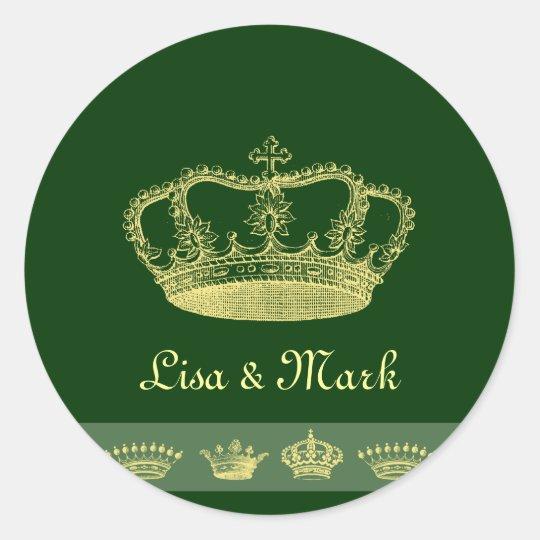 Crown Designs - Green Classic Round Sticker