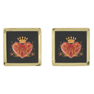 Crown Filigree Heart Cufflinks