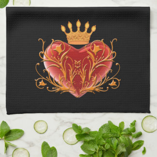 Crown Filigree Heart Kitchen Towel
