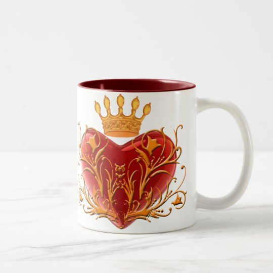 Crown Filigree Heart Mug