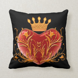 Crown Filigree Heart Reversible Pillow
