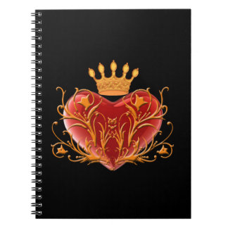 Crown Filigree Heart Spiral Notebook