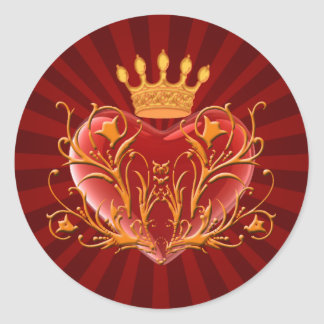 Crown Filigree Heart Stickers