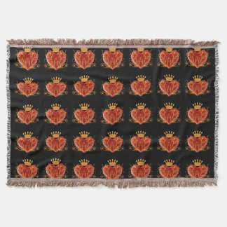 Crown Filigree Heart Throw Blanket