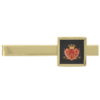 Crown Filigree Heart Tie Bar