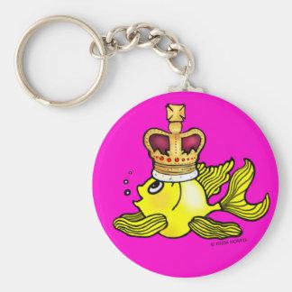 Crown Fish ~ funny cute royal monarch cartoon Keychain