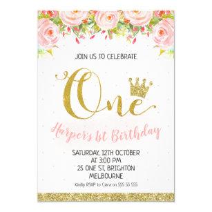 Floral 1st birthday invitations zazzle crown floral princess 1st birthday invitation filmwisefo