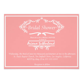 Crown Floral Wreath Bridal Shower Invitation