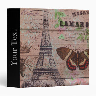 crown french bee butterfly Paris Eiffel Tower 3 Ring Binder