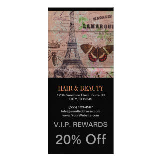 crown french bee butterfly Paris Eiffel Tower Rack Card