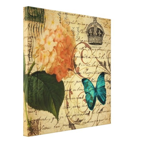 crown French botanical art butterfly hydrangea