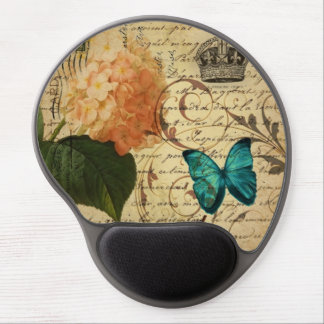 crown French botanical art butterfly hydrangea Gel Mouse Pad