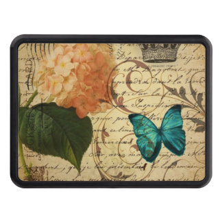 crown French botanical art butterfly hydrangea Hitch Cover