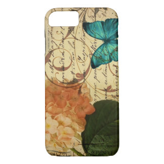 crown French botanical art butterfly hydrangea iPhone 8/7 Case