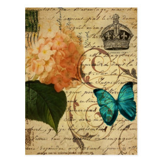 crown French botanical art butterfly hydrangea Postcard