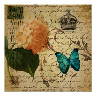 crown French botanical art butterfly hydrangea Poster